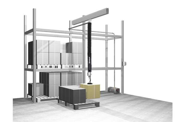 Lyfthjälpmedel industri - Vakuumlyft logistik - Vakuumpump tublyft Movomech Easyhand Pro