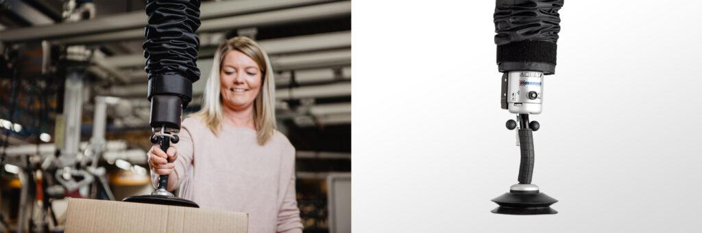 Vakuumlyft för industri - lyft kartonger och skivor ergonomiskt och effektivt med Easyhand Pro - Movomech vakuumlyftare