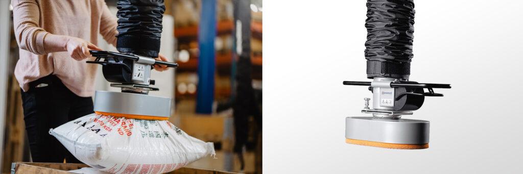Lyft av säckar med vakuumlyft - Movomech Vacuhand Pro säcklyft - vacuum lifter